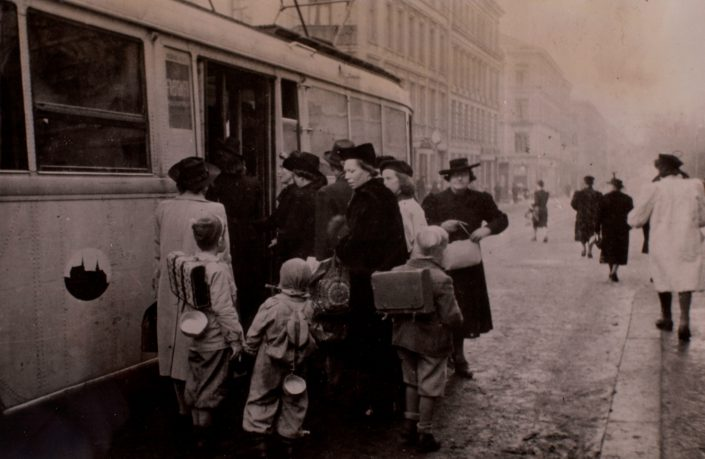 societies under german occupation - Children on their way to school where they receive extra soup rations, Norway's Resistance Museum